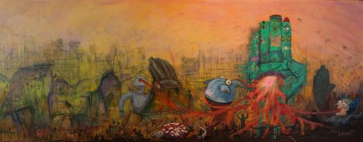 ANYTHING GOES - acrylic, graphite & pigment marker on canvas - 40x100cm