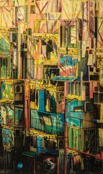 SUNSHINE GHETTO - photo collage, acrylic on canvas - 30x50cm