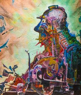 HOMOSAUROUS CONSUMEROUS - acrylic, pigment pen, graphite, photo collage on canvas - 25x30cm
