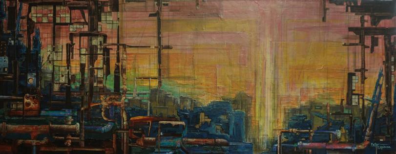 AFTERMATH - acrylic, pigment pen, graphite, photo collage on canvas - 40x100cm