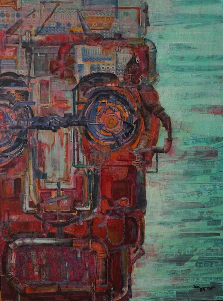 espinosa-art-red-robot-vintage-industrial-metal