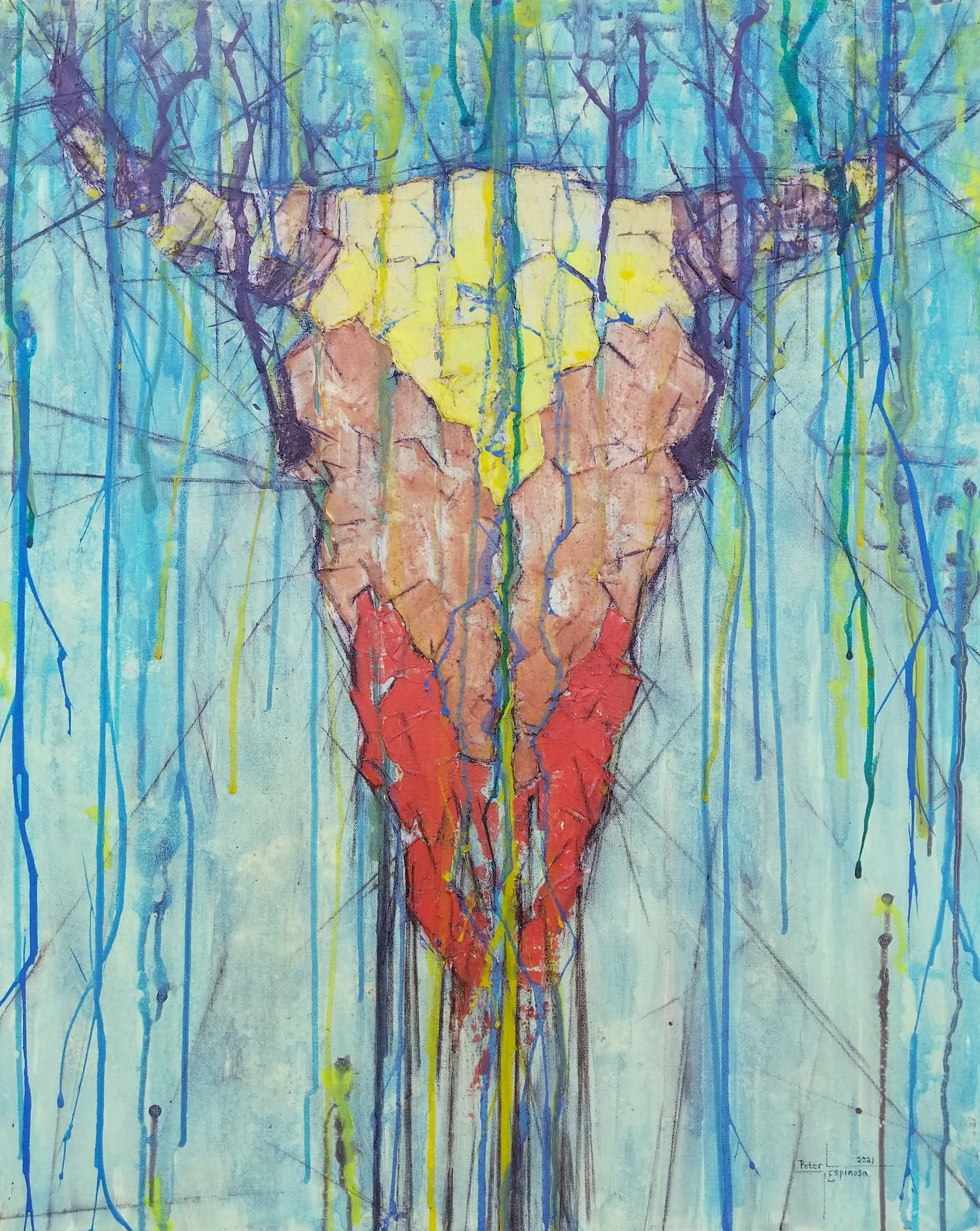 espinosa-art-cowskull-painting-ink-drips